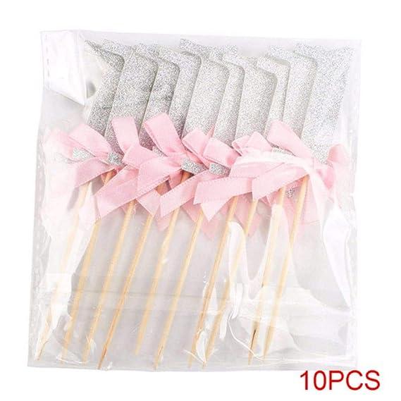 PAIZEP 10Pcs Primer cumpleaños Cupcake Glitter Paper Bow ...