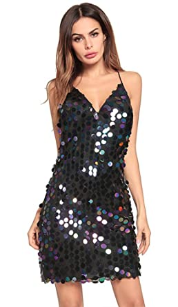 Oops Style Womens Sexy Black Sequin Dress Plus Size Bodycon Backless Party Dress
