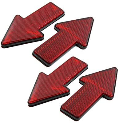 AUTUT Car Reflective Sticker Red Arrow Shape Vehicle Car Reflector Strips, Pack of 4: Automotive