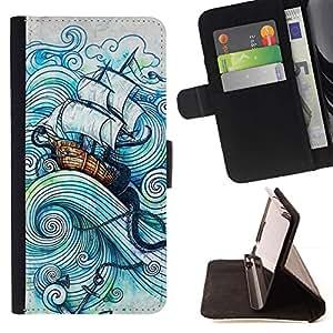 Momo Phone Case / Flip Funda de Cuero Case Cover - Vela Barco Mar Barco Tormenta Océano capitán - Sony Xperia M5