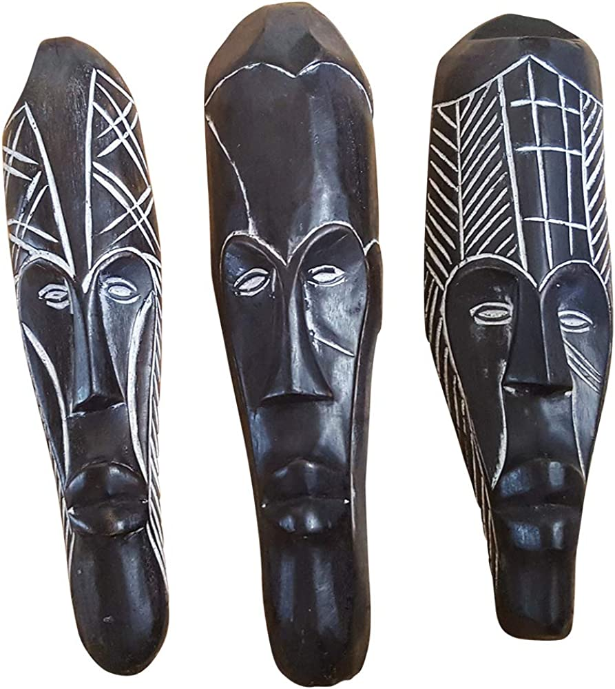 Novarena African Art Cameroon Gabon Fang Wall Masks and Sculptures - Africa Home Mask Decor (12 inches, Set of 3 Black Fang Wall Mask)