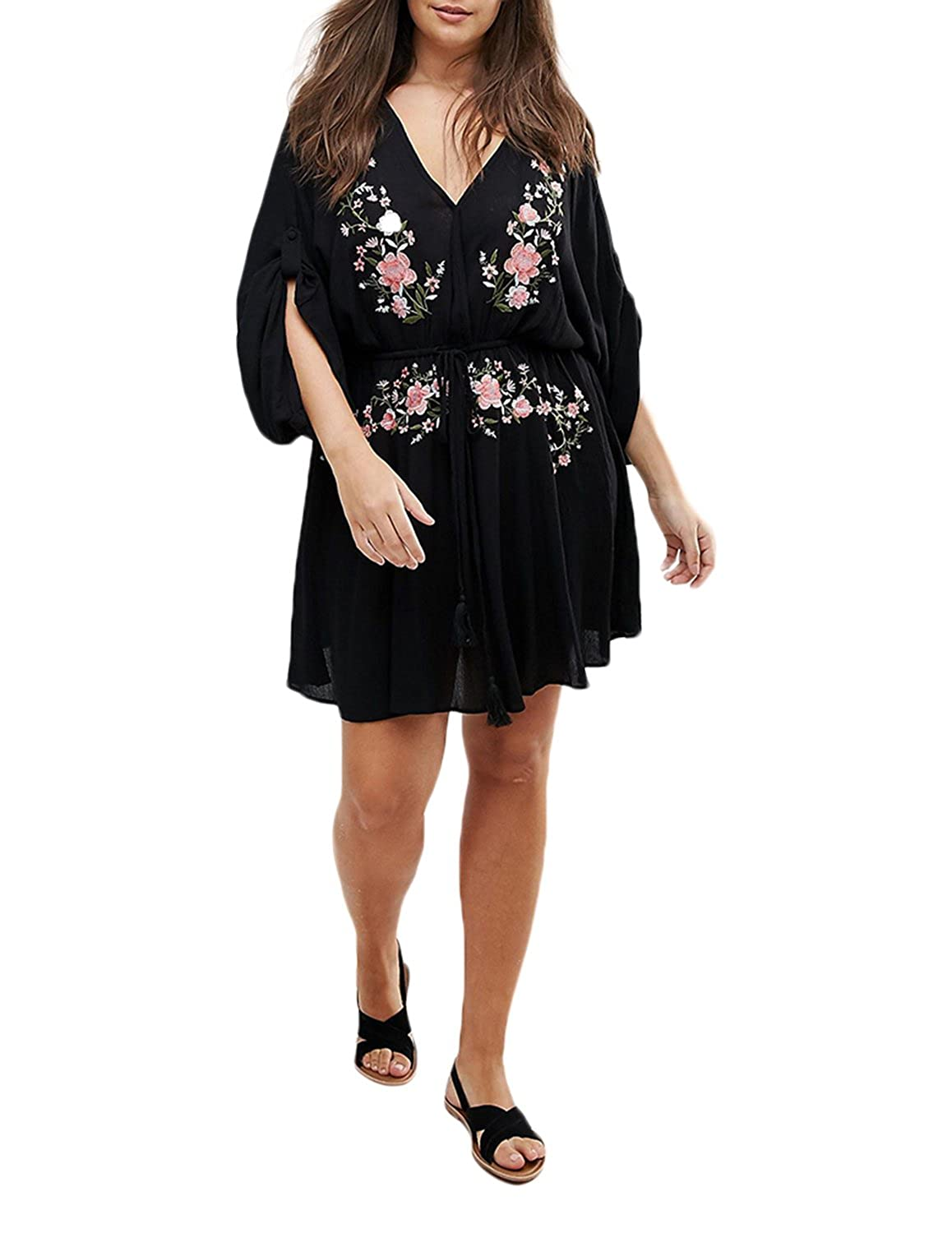 Richlulu Womens Floral Embroidery V-Neck Pleated Tight Waist Mini Dress