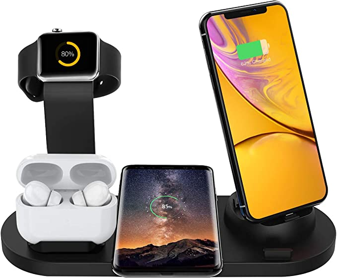 Bestrans Wireless Charger Station, 6 in 1 Charging Dock for Apple Watch and Airpods, Qi Fast Wireless Charger Compatible with iPhone XXSXRXs