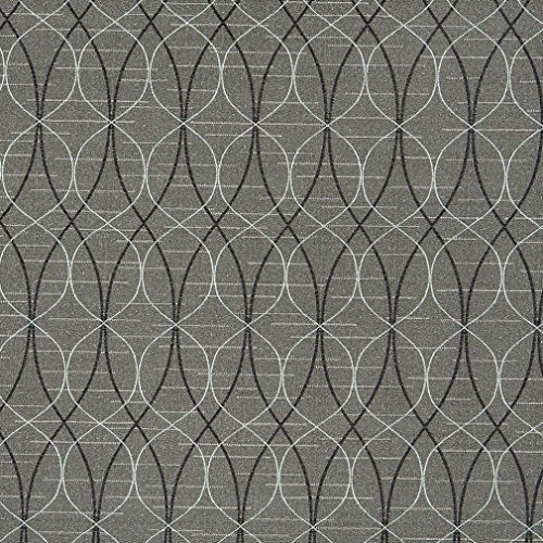 - A030 Grey Black and Silver Contemporary Overlapping Ovals Upholstery Fabric by The Yard