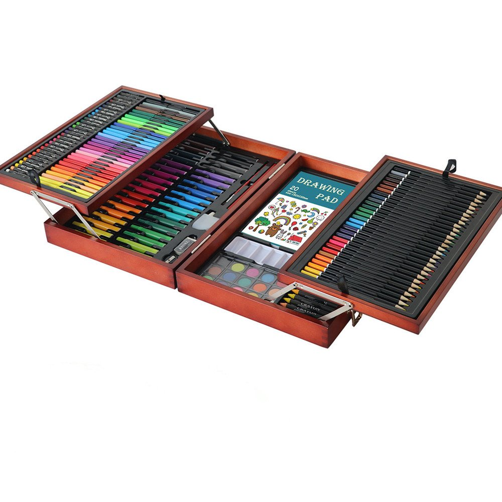 Ybriefbag Wooden Art Set Children's Drawing 178 Double-Layer Wooden Box Set Watercolor Pen Crayon Brush Student Tool Gift Box Art Supplies for Drawing