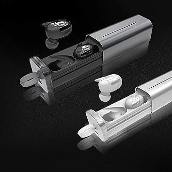 SHUX - Auriculares inalámbricos con micrófono y cargador portátil para iPhone y Android, plateado