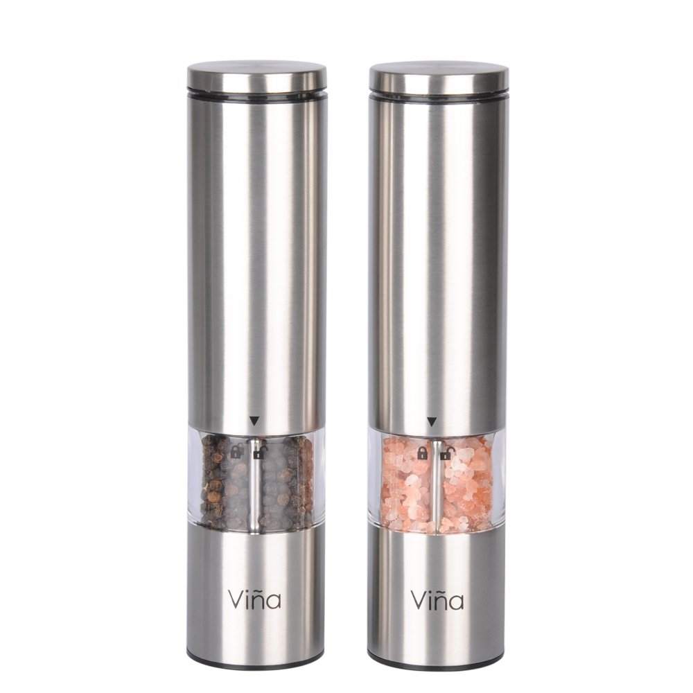 Vina Electric Salt and Pepper Grinder Set with LED Light, Battery Powered, Adjustable Ceramic Coarseness, Stainless Steel Pepper Mill, Pack of 2