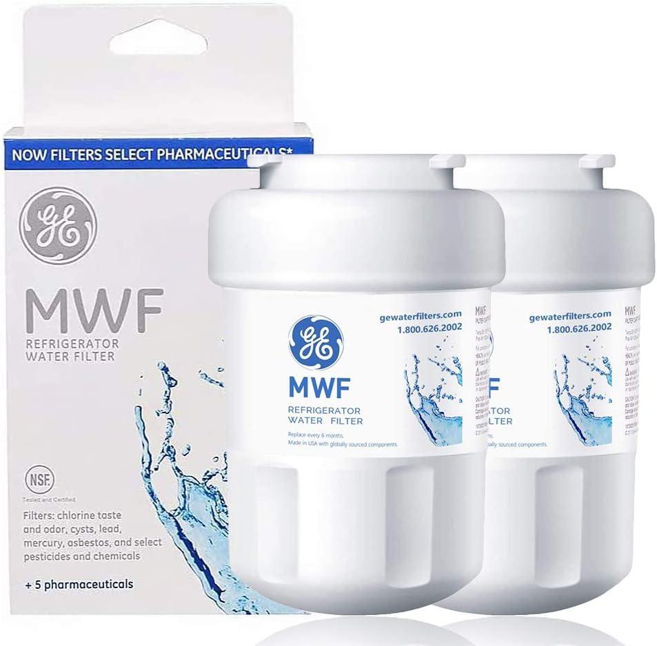 Refrigerator Water Filter Cartridge SMART WATER Replacement for OEM GE MWF, MWFP, GWF,HWF,HWFA,GWF01,GWF06, FMG-1, FMG, WFC1201, PC75009, RWF1060 2 pack… (white1)