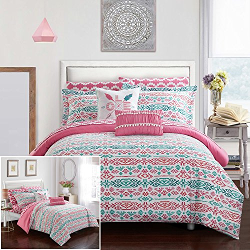 Chic Home 9 Piece Kiernan Reversible Ikat Bohemian Designer Printed Bed in a Bag, Includes Love Pillow and Ruffled pom pom Pillows Full Comforter Set Aqua