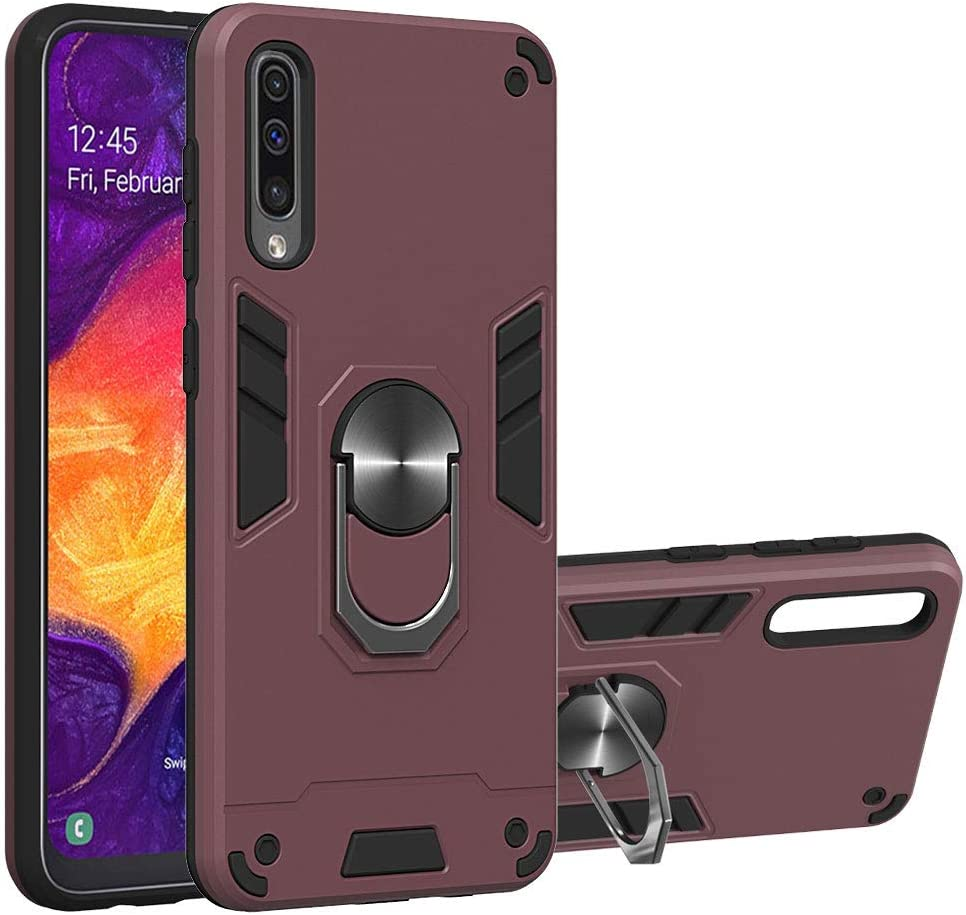 2019 Military Grade Phone Case with 360 Degree Rotating Holder Kickstand Support Magnetic Car Mount Wine Red A50s A30s Case Cover WIITOP Compatible with Samsung Galaxy A50
