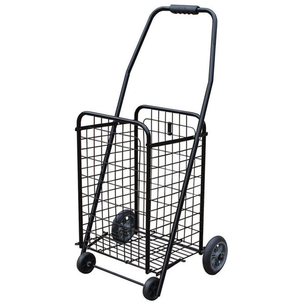 Shopping Cart Small Pulling Cart Trolley Stairs Shopping Cart Portable Folding Old Hand Carts Trolley Luggage Trailer (Color : Black, Size : 262476cm)
