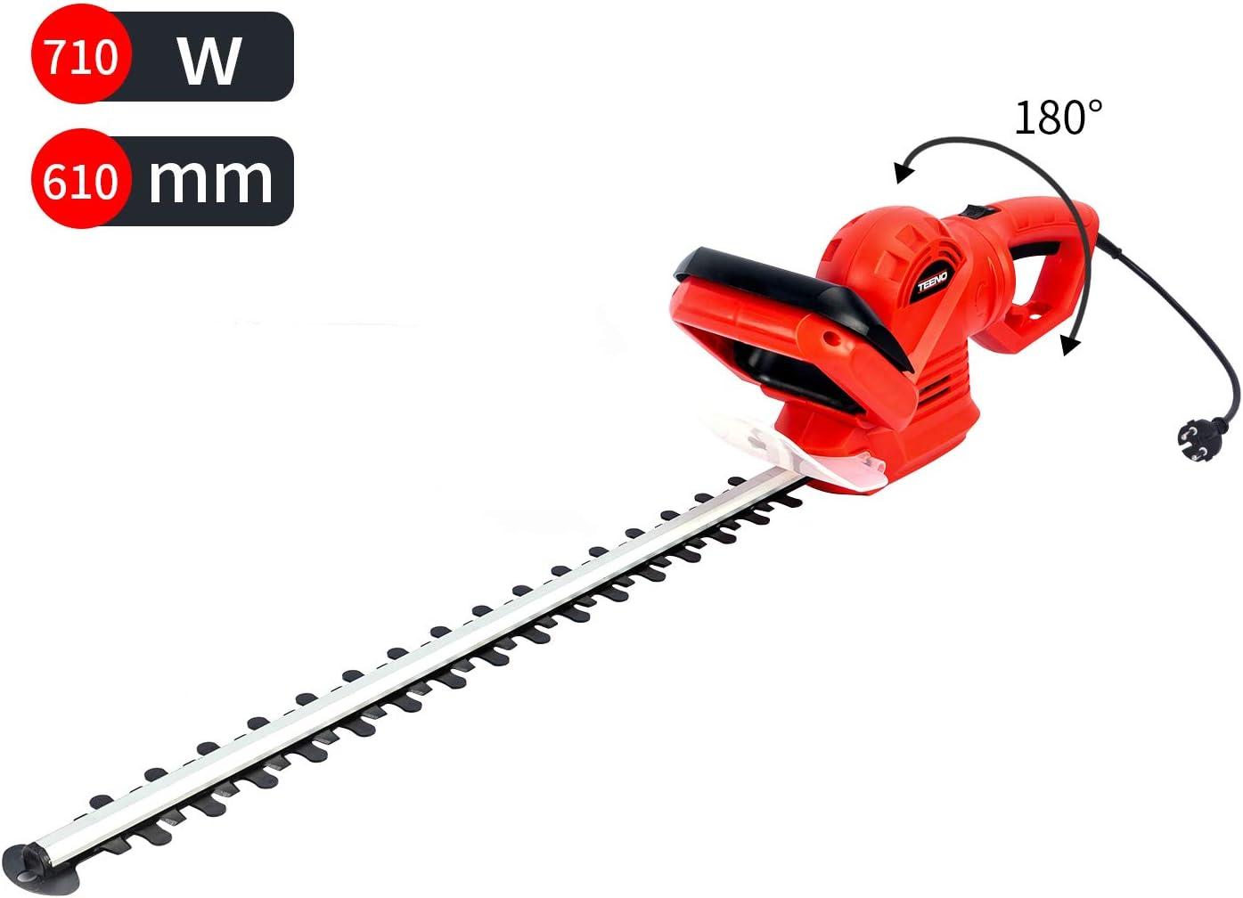 TEENO Cortasetos, 710W Cortasetos Electrico, Longitud de la Cuchilla 610 mm, Paso 24 mm, 180 ° Ajustable, Ajuste del Mango de 5 Posiciones, Diseño del Cabezal Anticolisión