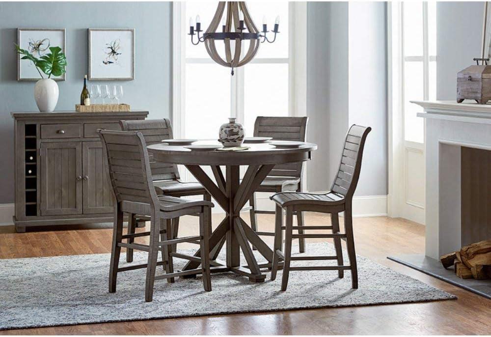 Progressive Furniture Willow Round Counter Table, Distressed Dark Gray