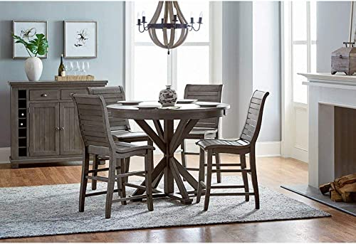 Progressive Furniture Willow Round Counter Table, Distressed Dark Gray