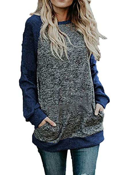 96441ce5d5 Inkpoo Women s Long Sleeve Sweatshirt Tunic Shirt Casual Pullover Hoodies  Blouses Tops with Pocket Blue S
