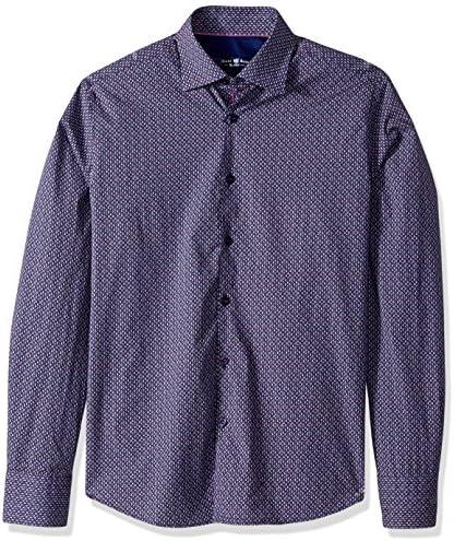 Stone Rose Mens Geometric Print Long Sleeve Button Down Shirt