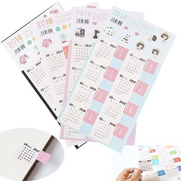 amazon com tuantuan 4 sheets mini 2018 calendars stickers calendar