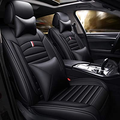 ANKIV Full Set Universal Fit 5 Seats Car Waterproof Pu Leather Front Rear Car Seat Cushion Cover with Headrest Waist Support Pillows for Sedan or SUV: Automotive