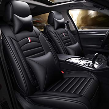 Universal Black+White PU Leather Car Front+Rear Seat Cover Cushion+Armrest Pad