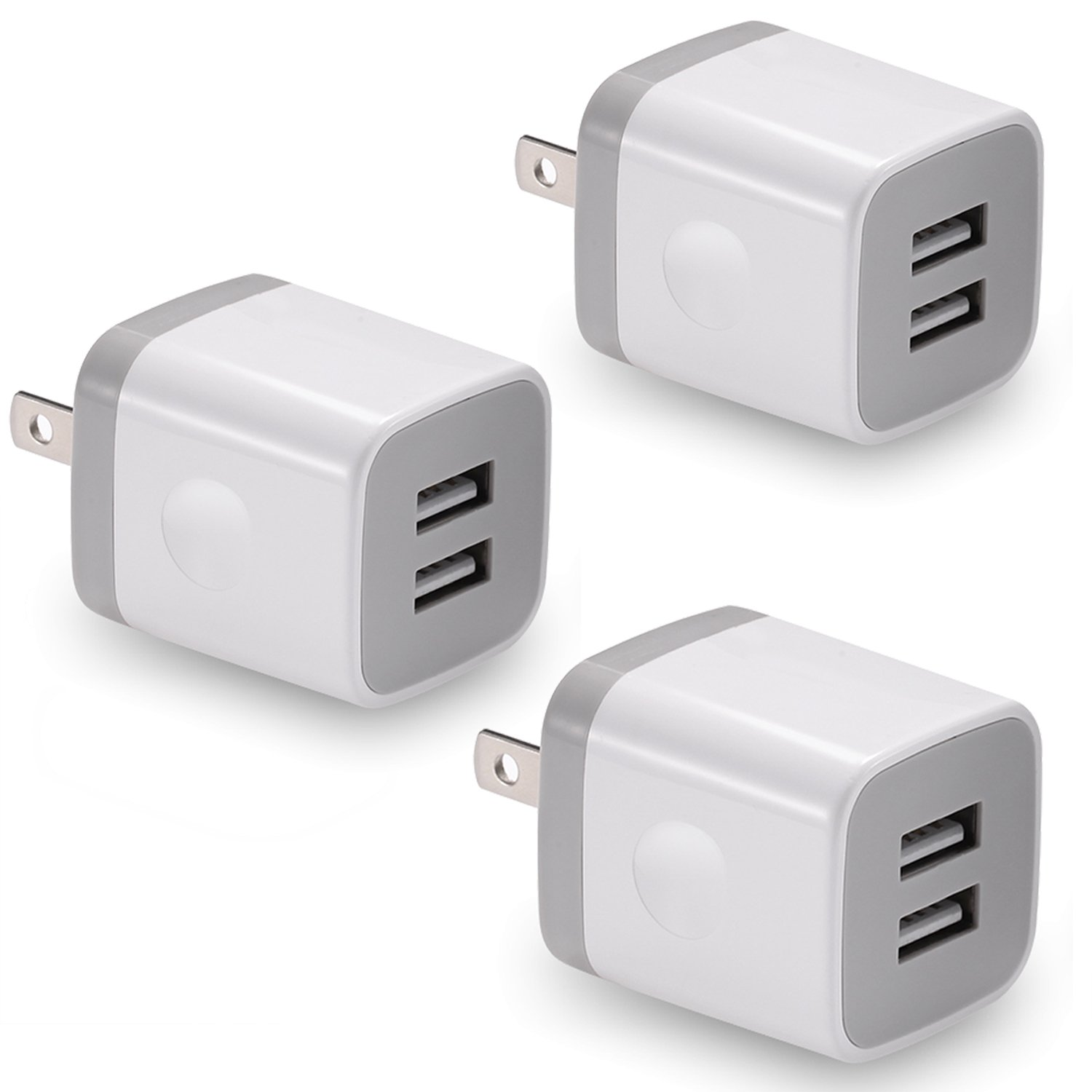 USB Wall Charger, BEST4ONE 3-Pack 2.1A/5V Dual Port USB Plug Power Adapter Charging Cube Compatible with iPhone X 8/7/6 Plus SE/5S/4S, iPad, iPod, Samsung, Android Phone -White
