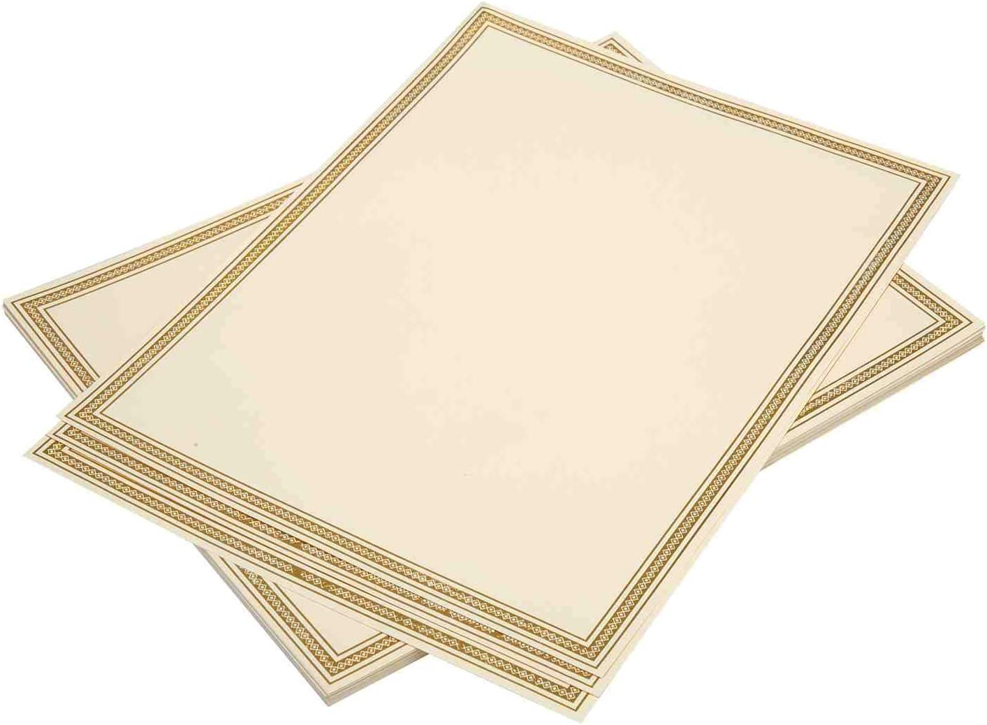 Certificate Paper 20 Pack with Gold Foil Border 8.5 x 11 180 Gram Premium Paper Award and Diploma Paper Compatible with Inkjet and Laser Printers