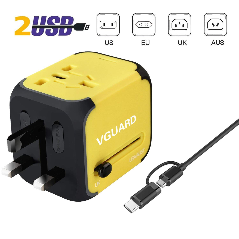 VGUARD Adaptateur de Voyage avec 4 USB Adaptateur Universel Pris de Courant pour UE/US/UK/AUS Utilisé dans Plus de 150 Pays Adaptateur Chargeur - Vert
