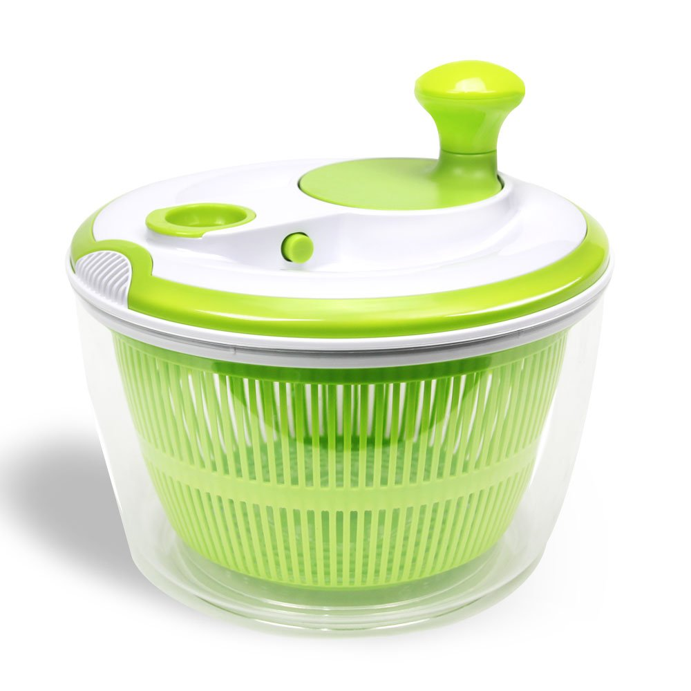 Salad Spinner and Dryer, Pantula, Vegetable Washer and Container with Good Grips, Non Slip,BPA Free,Large Capacity,Green