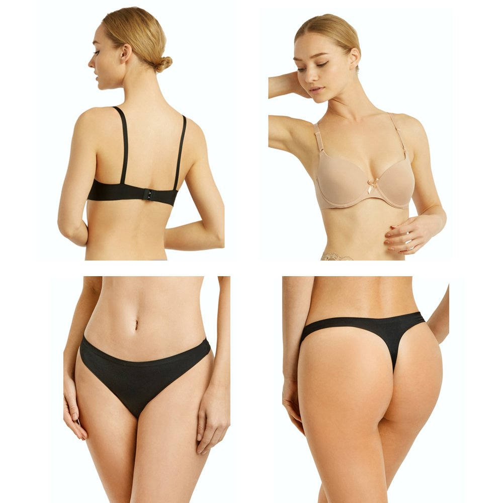 3fcfc26770d99 Uni Style Apparel Womens Full Cup Laser Cut Push Up Bra and No Show Thong  Panty Set -12 Pack (6 Pieces Each) at Amazon Women s Clothing store