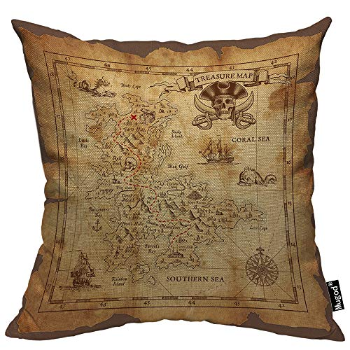 - Mugod Vintage Map Throw Pillow Case Pirate Treasure Map Coral Sea Ruined Old Parchment Island Skull Cotton Linen Square Cushion Covers Couch Sofa Bed Men/Women/Boys/Girls Room 18x18 Inch Pillowcase