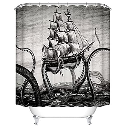 Custom Waterproof Fabric Bathroom Shower Curtain Attack Octopus Ship 66w X 72h Bath Amazoncouk Kitchen Home