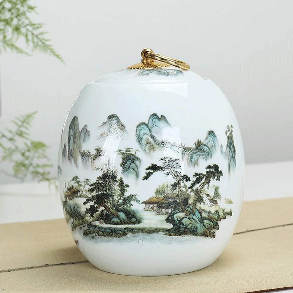 CGH Funeral Urn- Human Ash Cremation Urn Adult and Commemorative Urn Show Burial at Home Or in The Alcove of Columbarium Painted Hand-Painted Color : A