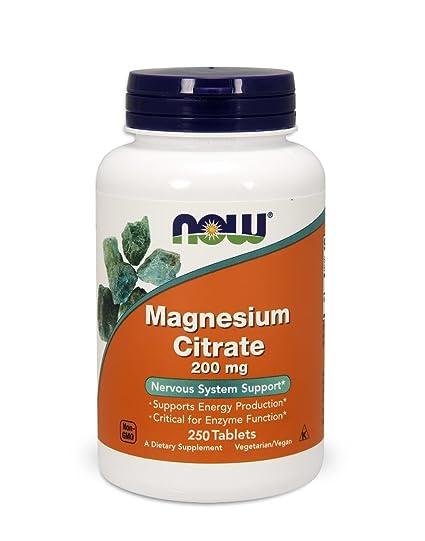 NOW Foods, Citrato de Magnesio, 200 mg, 250 tabletas