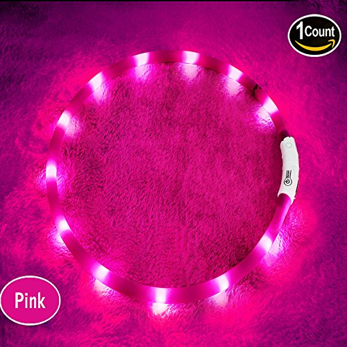 LED Dog Collar,USB Rechargeable Glowing Dog Collars, Light Up Collar Improved Pet Safety &Visibility - http://coolthings.us