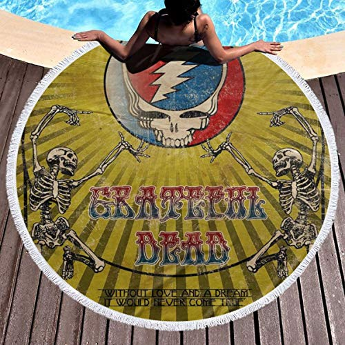 VIMMUCIR Beach Towel Grateful Dead Wallpaper Towels with Tassel Microfiber Oversized Round Picnic Mat Tapestry Table Cover Blanket