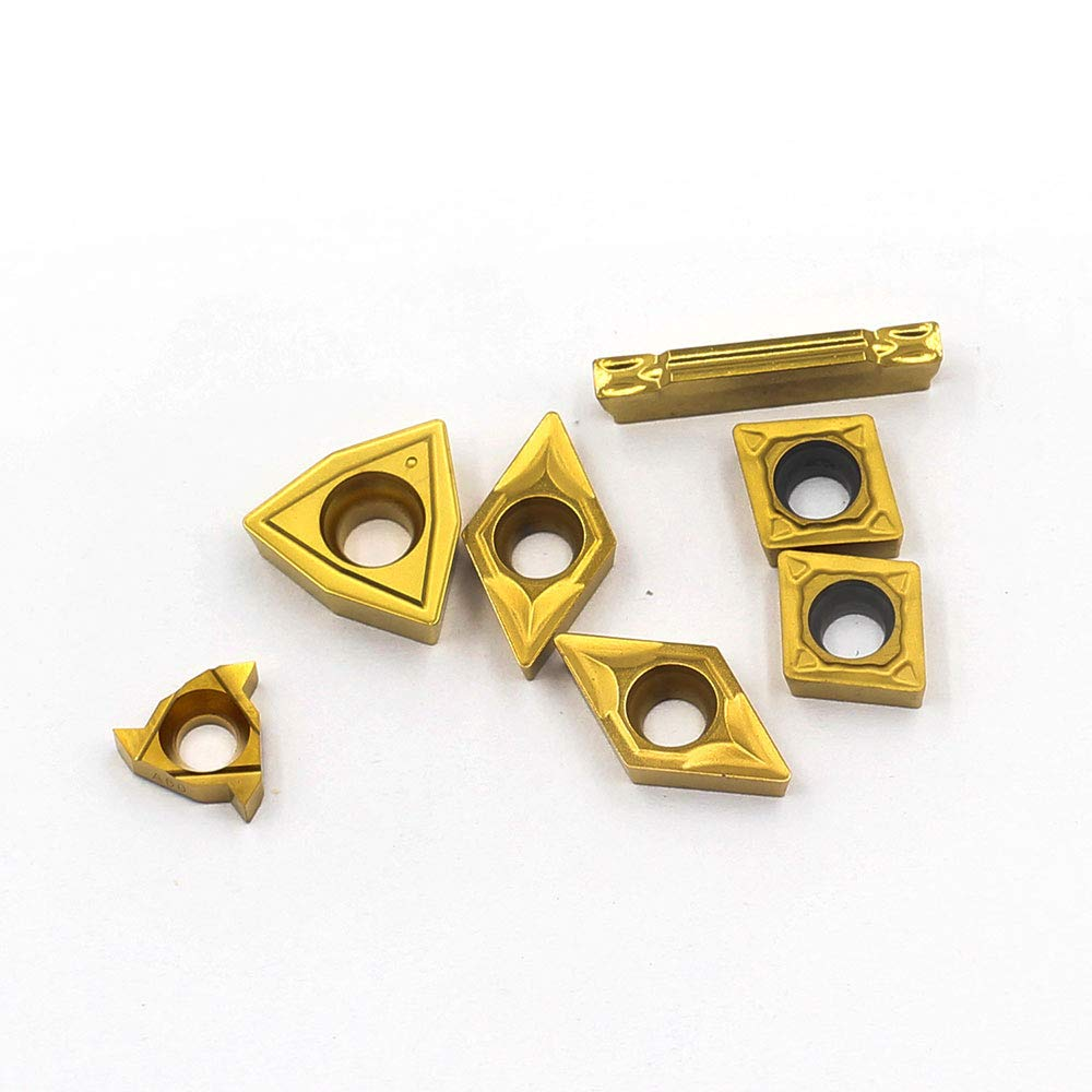 OSCARBIDE Carbide Turning Inserts MGMN200,08ER A60,WCMT050304,CCMT060204,DCMT070204 CNC Lathe Insert for 1//4Indexable Lathe Turning Tool Holder Insert Replacement 7 Pieces