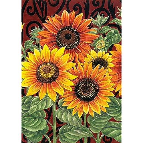 toland home garden sunflower medley 28 x 40 inch decorative summer fall flower floral house flag - Large Garden Flags