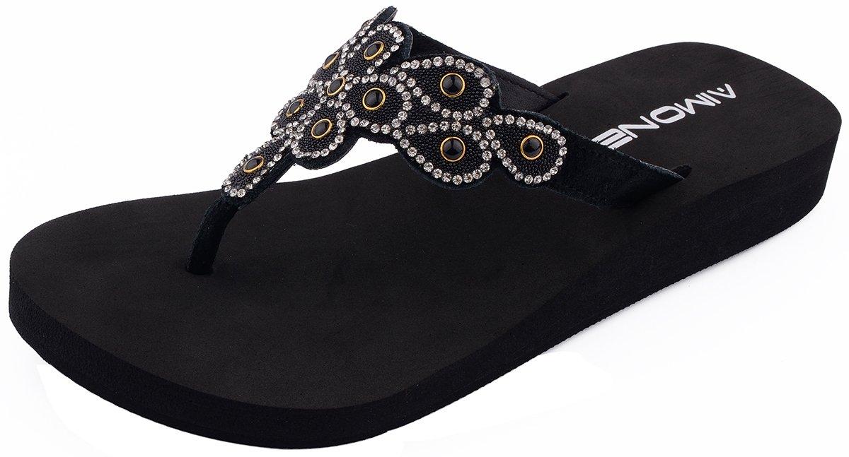 AIMONE Women's Aviva Flip Flop Sandals (9 B(M) US, Black)