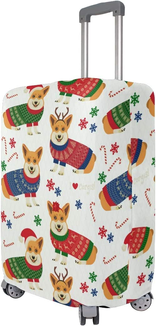 FOLPPLY Corgi With Christmas Hat Pattern Luggage Cover Baggage Suitcase Travel Protector Fit for 18-32 Inch