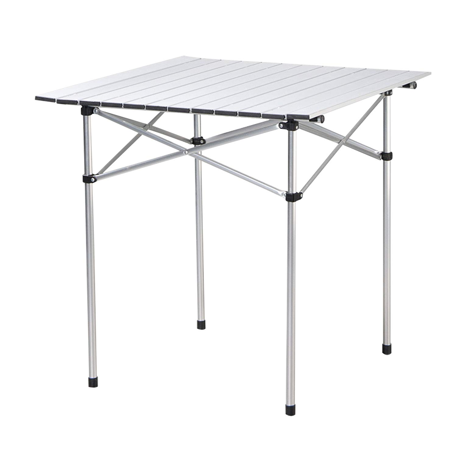 Deanurs Roll Up Portable Aluminum Folding Camping Square Tables PicnicTable for Outdoor Camping Hiking Lightweight Picnic Table , 28'' x 28''w/Carry Bag,Silver by Deanurs