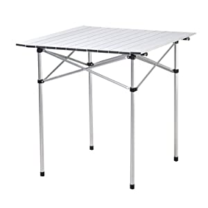 "Deanurs Aluminum Folding Tables Camping Roll Up Portable Square Table for Outdoor Hiking Picnic,28"" x 28"" w/Carry Bag,Silver"