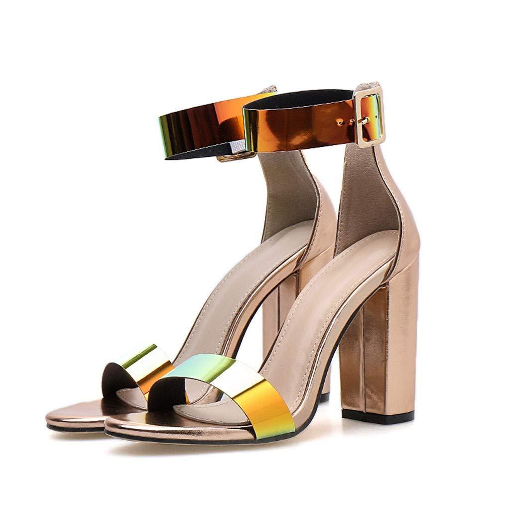 Heeled Sandals for Women Ankle Strap,FAPIZI Summer Casual Open Toe Round-Toe Fashion Sequin Nightclub Shoe by FAPIZI Women Shoes (Image #5)