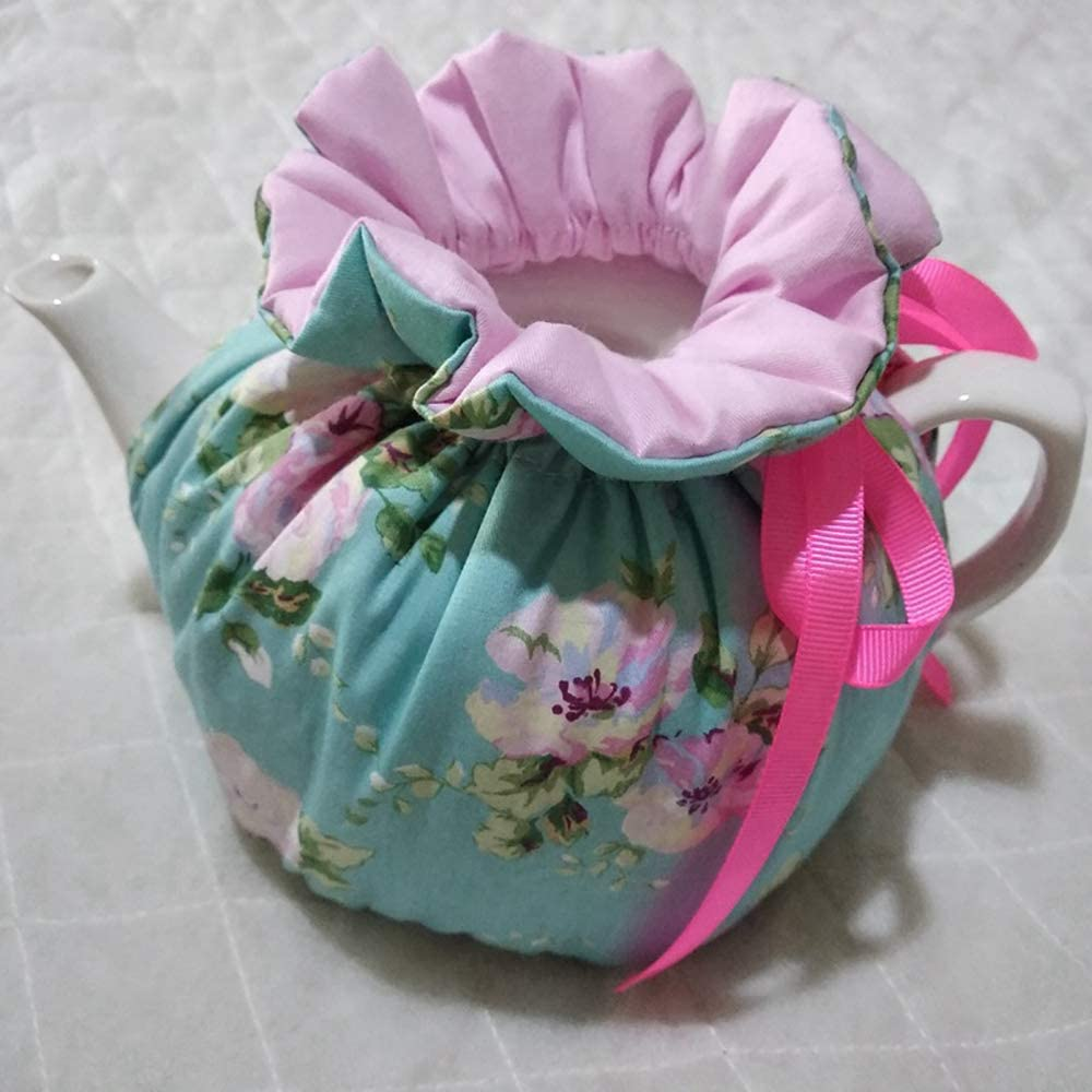 Color7 Cotton Tea Cozy Vintage Floral Tea Cozy Dust Proof Insulated Teapot Cover Keep Warm Decorative Accessories Tea Kettle Quilt for Home Kitchen Table Hotel Tea Party Restaurant
