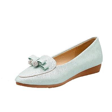 AgooLar Damen Ziehen auf Niedriger Absatz PU Rein Rund Zehe Pumps Schuhe