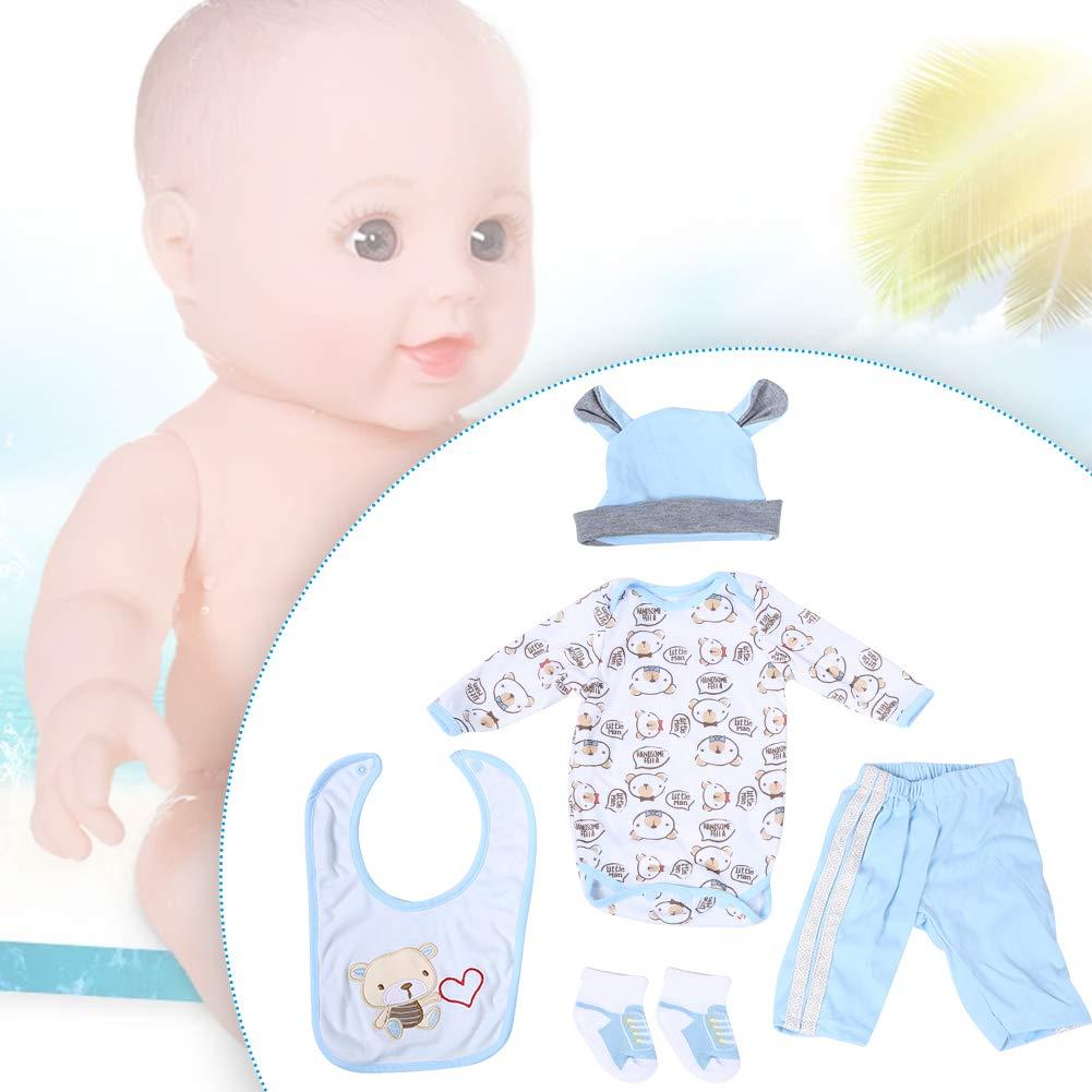 20-22 Pollici Doll Camicia Pantaloni Paio di Calzini Asciugamano Saliva Cappello A Set di Vestiti per Bambola di Simulazione Infantile Accompagnare Le Bambole Vestiti Quotidiani per 50-55 cm