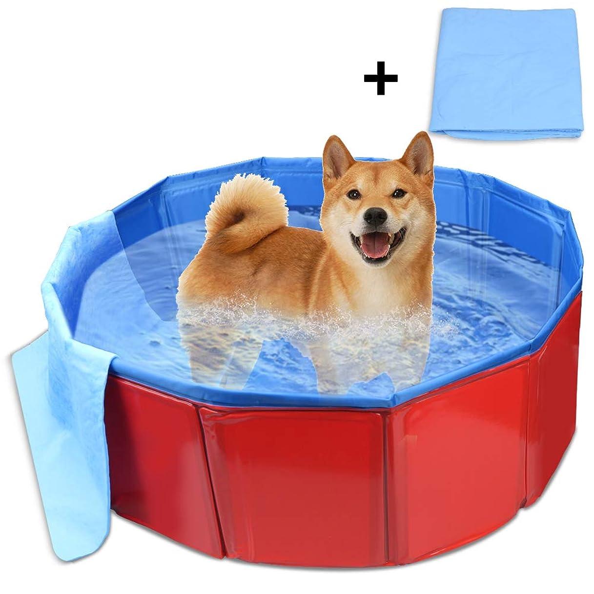フリンジまつげ接地Mersuii ペット用プール 折り畳みプール バスグッズ お風呂 空気不要 水抜き栓付き 大中小型犬に適用(80x20)