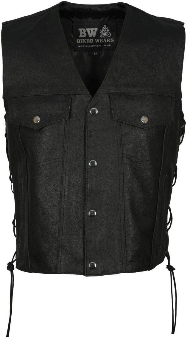 Mens Motorbike Motorcycle Real Leather Button Side Laced Fish Hook Pocket Waistcoat Vest Biker Fashion /… BLACK FISH HOOK, XL