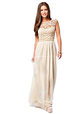 S07 Beige lace Evening Dresses party full length prom gown ball dress robe (M)