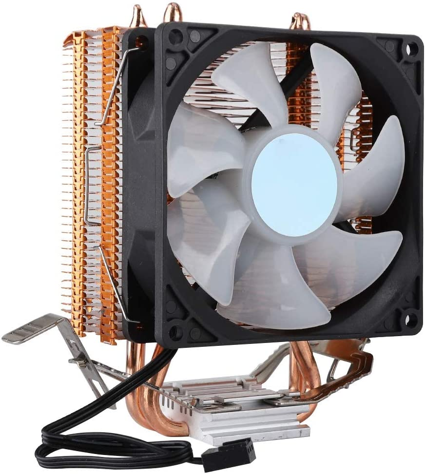 9cm Dual Heat Pipes CPU heatsink Radiator+Bracket+Screws Bag,3pin7-Color Breathe Light U-Shaped Copper Heat Pipe CPU Cooler with Aluminum Base