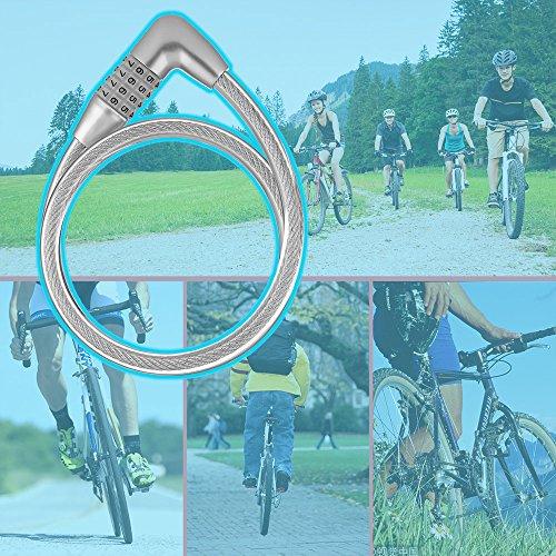 Dsteng Bike Lock Bicycle Lock Chain Resettable 4 Digit Combination Anti-Theft Bike Locks Bike Motorcycle Gate Garage Fence by Dsteng (Image #5)