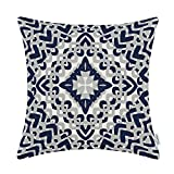 CaliTime Cushion Cover Throw Pillow Shell 18 X 18 Inches, Modern Geometric Compass, Navy Blue / Grey